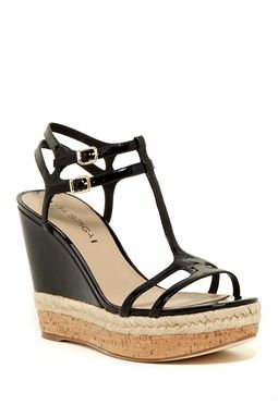 Meza Leather Dual Ankle Strap Platform Wedge