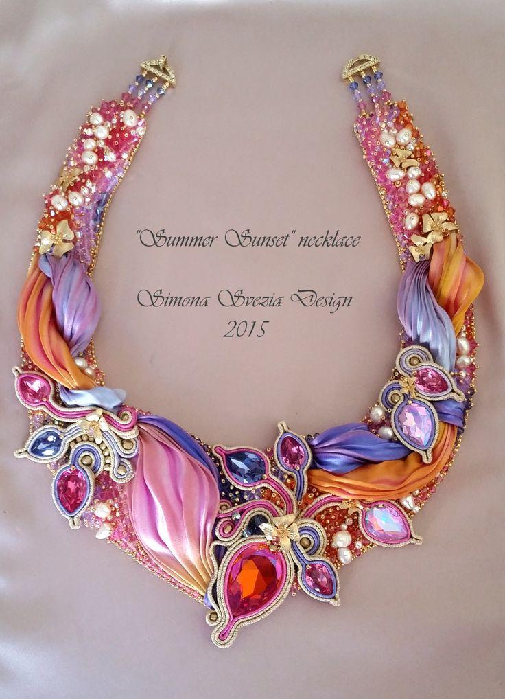 "Perline e Bijoux: Collana ""Summer Sunset"" con seta shibori / ""Summer Sunset"" necklace with shibori silk"