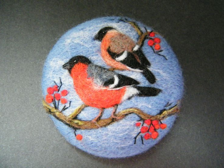 Handmade needle felted brooch    Bullfinches in the Berries      by Tracey  Dunn