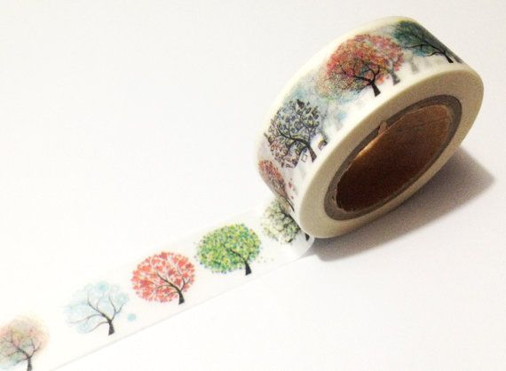 Japanese Washi Tape Rainbow Season Trees Nature от afterninety