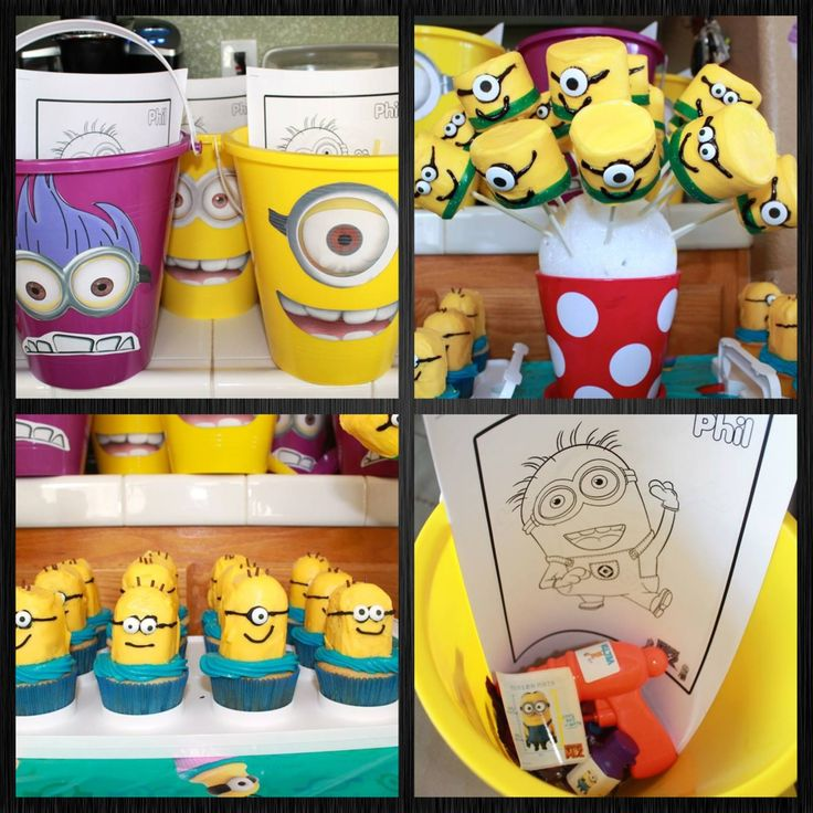 My daughters minion party- Pinterest inspired!! Minion beach buckets with vector squid (squirt) guns, anti gravity serum bubbles, stickers, straws and coloring sheets. Marshmallows minion pops and minion Twinkie cupcakes!