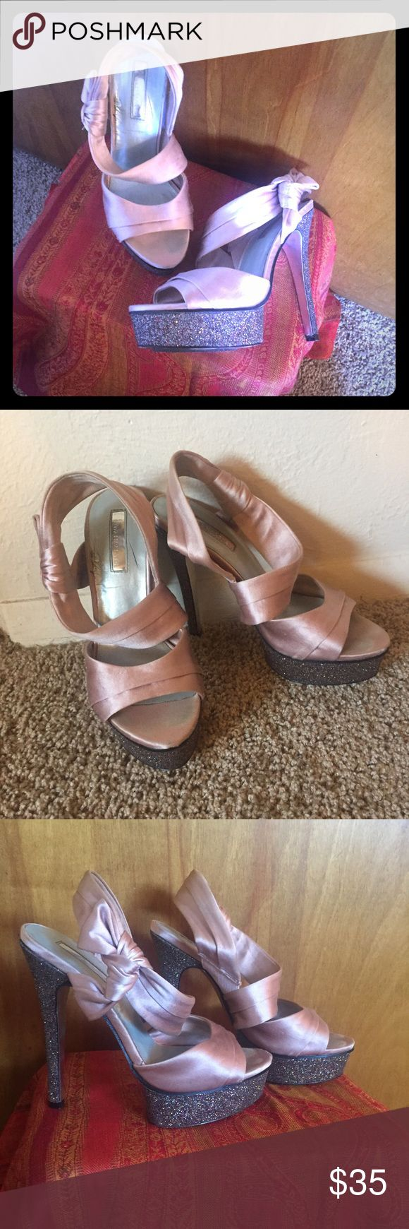 Sparkly light pink silk platforms size 6.5 Sparkly. High heel. Size 6.5. Light pink silk.  Dolls kill. Unif. Betsy Johnson. Omighty. Little black diamond. Shoes Heels