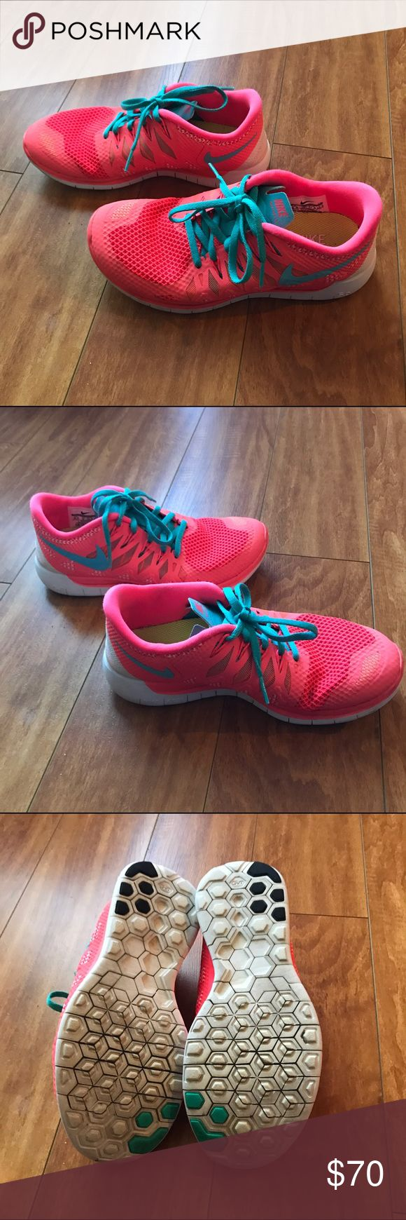 Nike free 5.0 coral orange sneakers shoes Excellent used condition. Nike free 5.0 coral tiffany blue shoes. Size 6.5. Nike Shoes Athletic Shoes