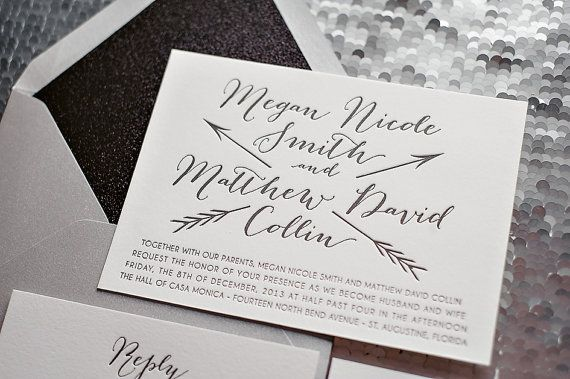Silver and Black Glitter Whimsical Letterpress Wedding Invitation, glamorous wedding invitation, fancy wedding invitation, metallic, arrow wedding invitation, calligraphy wedding invitation, glitter envelope liner