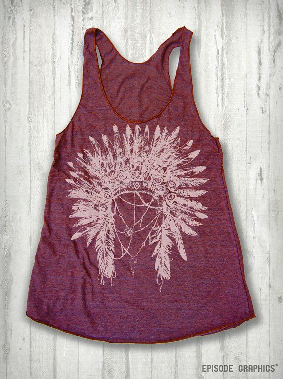 Indian Head Dress print TriBlend American by EpisodeGraphics, $18.00  @Brandi Lynn REMINDS ME OF YOU!