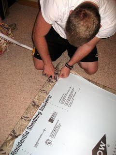 DIY Headboard using foam insulation sheets instead of plywood.