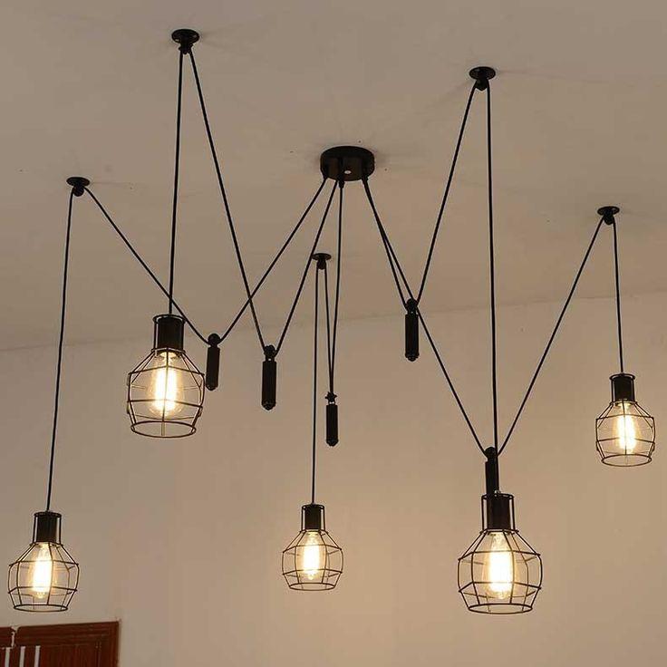 Diy hechos a mano Tiny jaulas accesorios 5 unids E27 bulbos de lámpara para lámparas de techo modernas ajustable araña lámpara de techo envío gratis(China (Mainland))