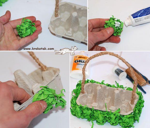 Cesta de páscoa feita com caixa de ovo | Pra Gente Miúda