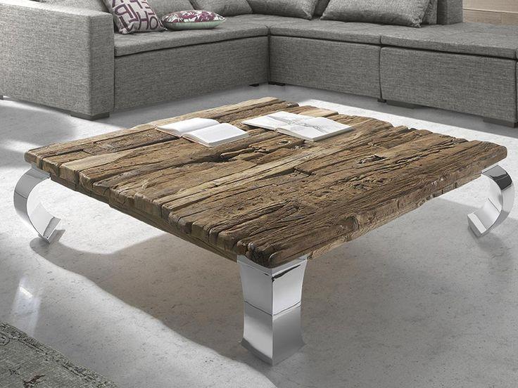 Mesas de centro con madera reciclada y patas de metal for Patas de muebles de madera