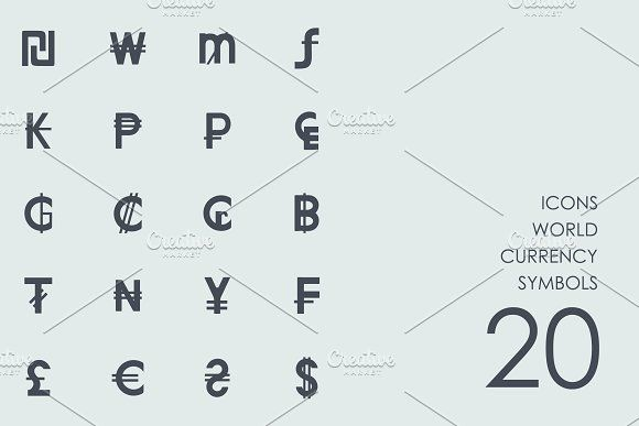 World currency symbols icons by Palau on @creativemarket