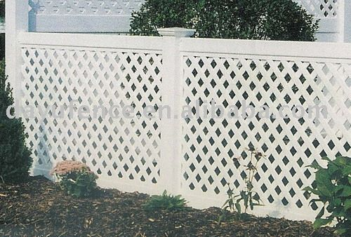 this is what the lattice fence would look like except that ours would be 8 feet high and only four feet wide which would mean we'd have more white posts than this pic