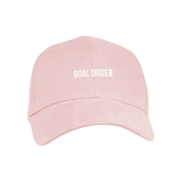 Goal Digger Distressed Polo Hat ($20) ❤ liked on Polyvore featuring accessories, hats, low crown hats, embroidered baseball hats, six panel hat, crown hat and white baseball hat