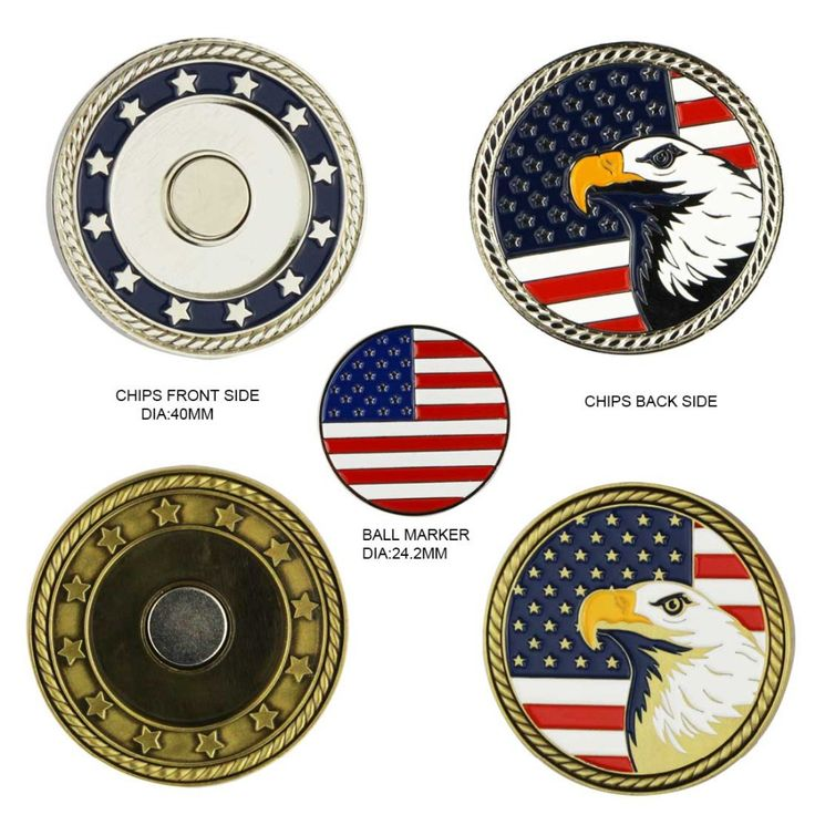 Unique American Flag Eagle Golf Poker Chip with Removable Metal USA Golf Ball Marker #Affiliate