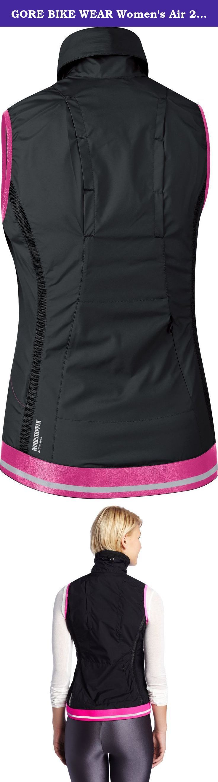 GORE BIKE WEAR Women's Air 2.0 Windstopper Active Shell Vest, Black/Hot Pink, Medium. WINDSTOPPER® Active Shell slim feminine cut and less is more designed lady's vest. A bit larger pockets for the lady's smart phone, keys and accessories.