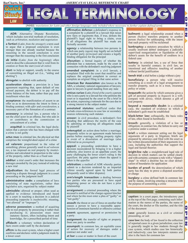 QuickStudy Legal Terminology Laminated Study Guide Law