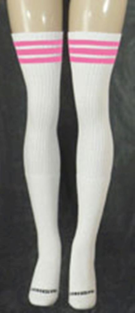 BubbleGum Pink Striped Thigh High Tube Socks 35-8 #SkaterSocks #StockingsThighhighs