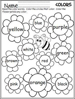Free flower color words worksheet. Great for the spring.: