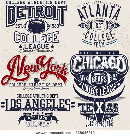 college football logo sets,college graphics for t-shirt - stock vector