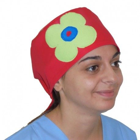 Handmade scrub hat. Choose among red, blue or white color and the green daisy will make it special.