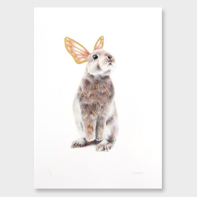 Gold Leaf Butterfly Bunny Art Print by Olivia Bezett See here: http://www.endemicworld.com/metallic-prints.html