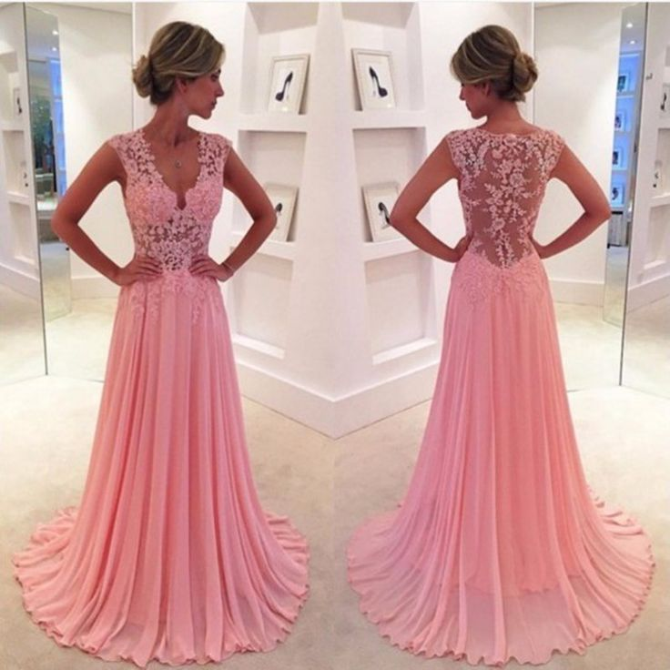 Illusion Sheer Prom Dresses Long Pink Lace Party Dress, 2017 New Arrival Sexy V Neck Pink Appliques Formal Evening Dress, Sweep Train Pageant Party Dress With Cap Sleeve, Plus Size Illusion Back Long Evening Dress, Elegant Pink Lace Formal Celebrity Gowns A Line