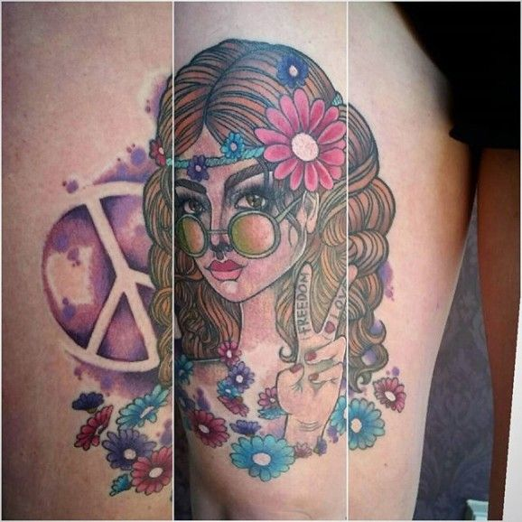 17 best ideas about hippie girl tattoos on pinterest hippy girl hippie girls and girl tattoo. Black Bedroom Furniture Sets. Home Design Ideas