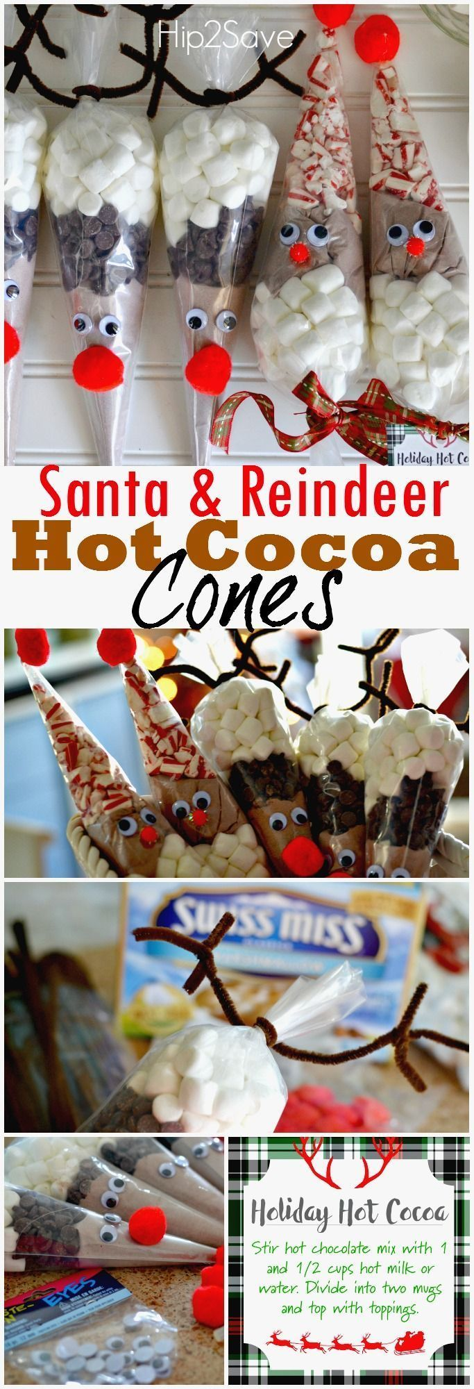 Santa & Reindeer Hot Cocoa Cones. This easy to make DIY Christmas gift is perfect if you're looking to give something handmade and cute. Whether it's for your boyfriend, or for your mom, there's no doubt that will adore this cute Christmas present. Comes with a great printable that will add that extra Christmas charm.