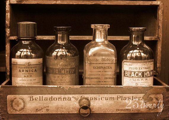 The Four Bottles, apothecary bottles in sepia photography, 5x7, New Orleans Pharmacy Museum, French Quarter on Etsy, $15.00