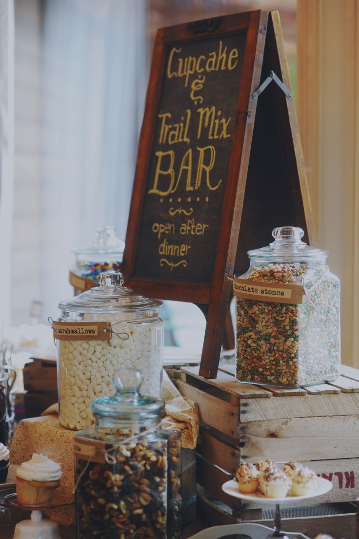 Trail mix bar! What a great idea for #rusticweddings!