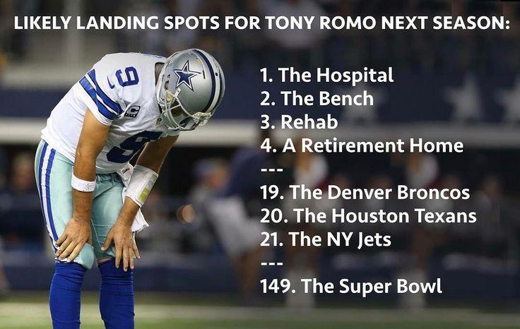Tony Romo's possible landing spots for 2017. #nflmemes #Sportshumor #nfl