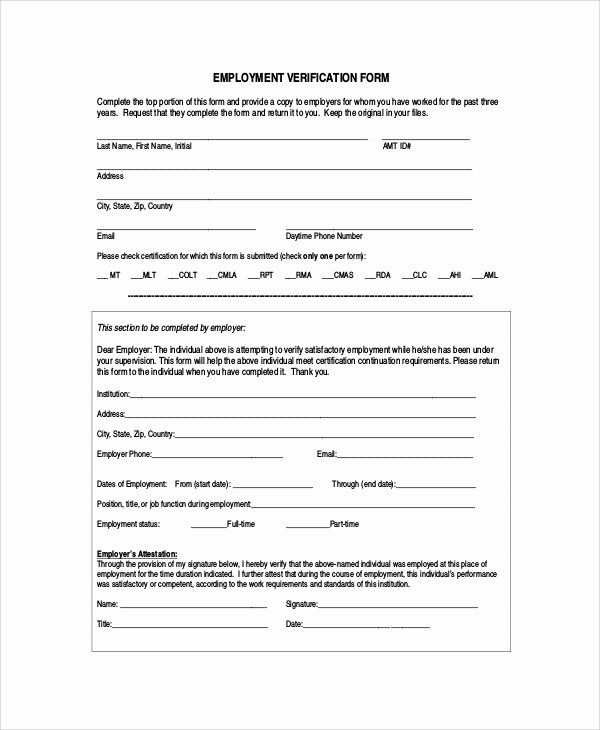 Employment Verification Form Template Beautiful 7 Sample