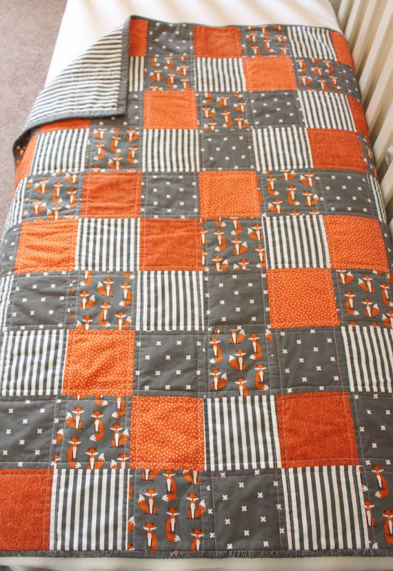 Fox Quilt, Woodland Quilt, Baby Quilt, Baby Blanket, Crib Bedding, Nursery  Bedding, Baby Bedding, Fox, Orange, White, Gray, Woodland Nursery