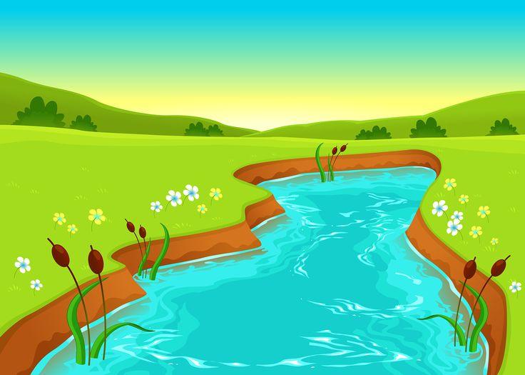 Картинка речка рисованная