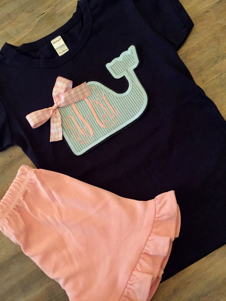 Girls Applique' Monogram seersucker whale navyshirt- ruffle shorts