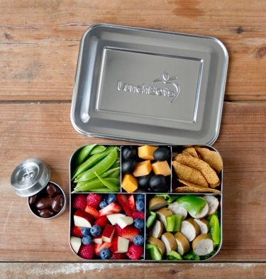 The LunchBots Bento Cinco plastic-free, stainless steel food container with five sections is large enough for you to pack your healthy work lunch to go.