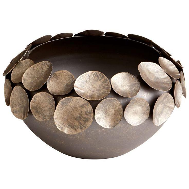 Cyan Design Small Electrum Container Electrum 13.5 Inch Diameter Iron Vessel Bronze Home Decor Accents Decorative Plates and Bowls