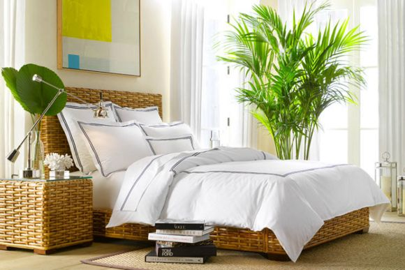 Tropical Bedroom Decor Natural Wicker White Bedding And