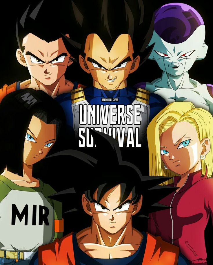 Gohan, Vegeta, Goku, Frieza, Android 17, and Android 18