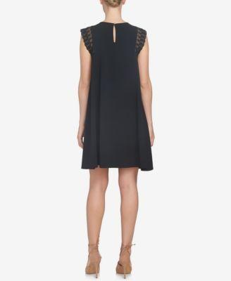 CeCe Lace-Sleeve Shift Dress - Black 12