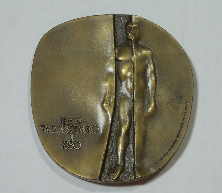"""Bronze Medal Congress of Medicine Portugal Irene Vilar Doctor Symbol Snake Staff  3"""" Large Oversized Bronze Medal featuring the medical symbol of snake curled around a staff on one side; nude man on another. Approx Size: 3.5"""" x 3.25"""" #Bronze #Doctor #Snake"""