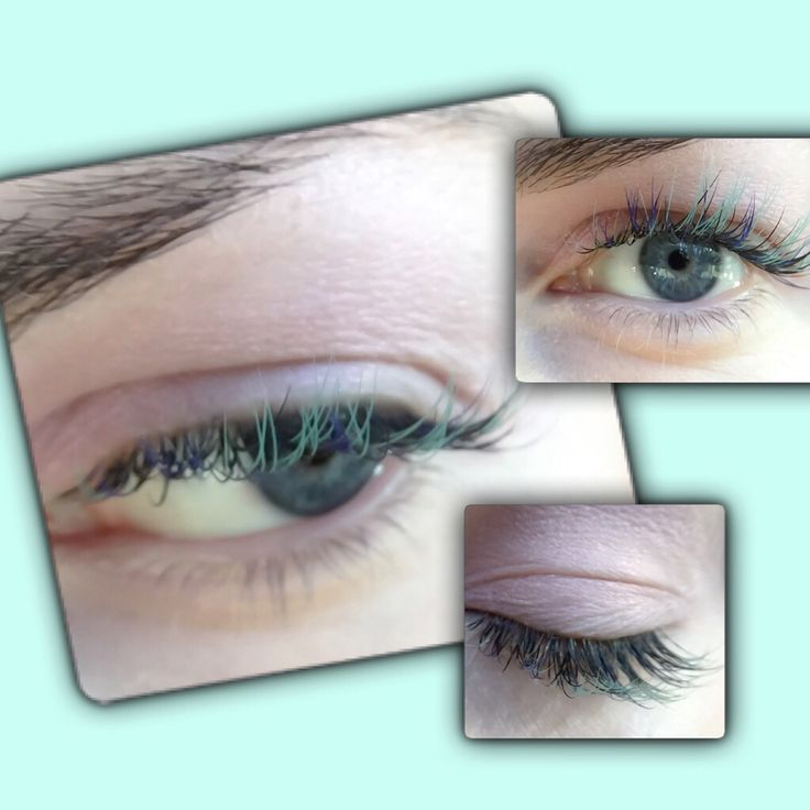 Beautiful seafoam, and navy blue lash extensions