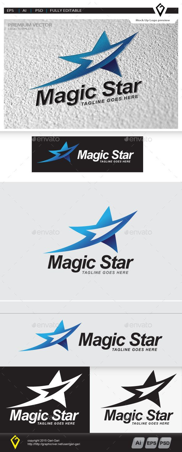 Magic Star - Logo Design Template Vector #logotype Download it here: http://graphicriver.net/item/magic-star-logo/10700073?s_rank=1408?ref=nesto