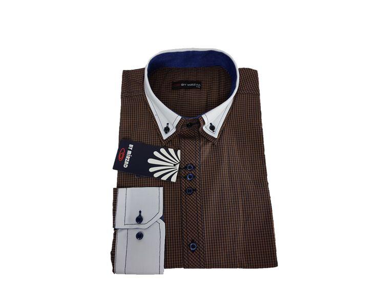 Koszula męska slim - brązowy - Koszule męskie - Awii, Odzież męska, Ubrania męskie, Dla mężczyzn, Sklep internetowy