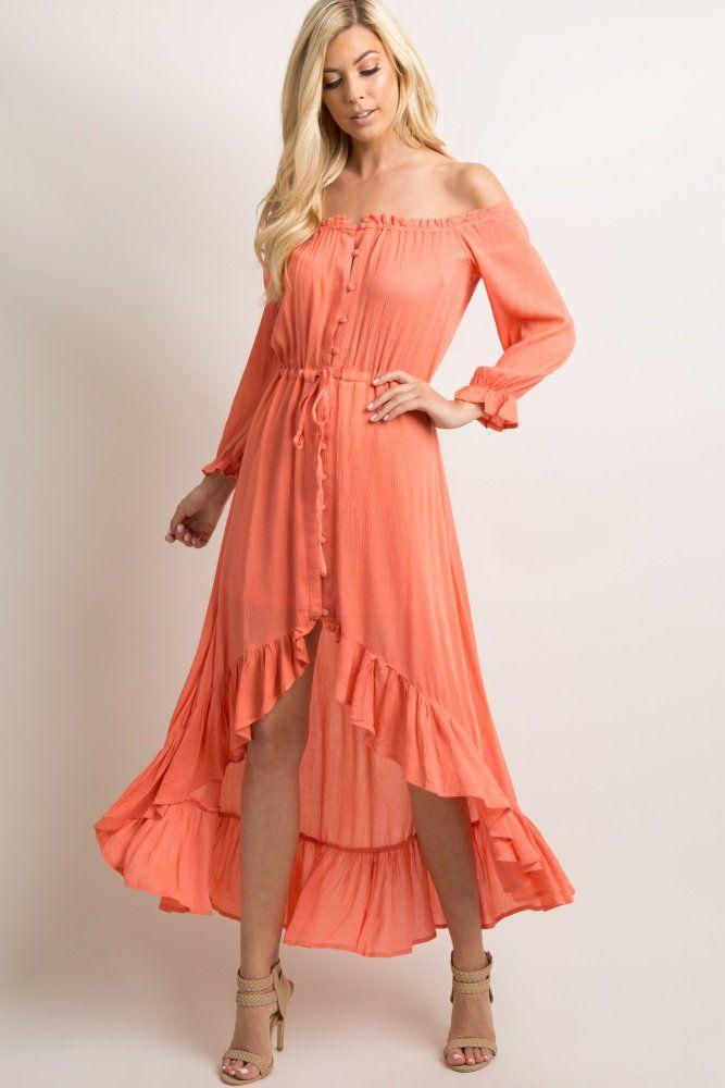 fb3aa4de9481d4 Salmon Button Front Off Shoulder Hi-Low Dress A textured, solid hued dress  featuring a button front closure, a ruffle trim cinched elastic off  shoulder ...