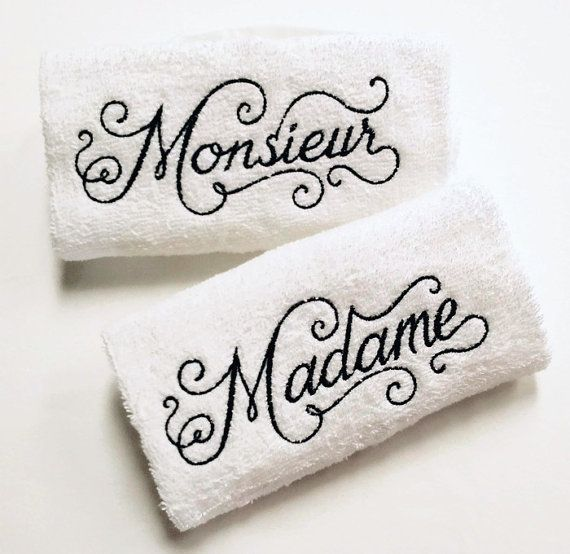 His & Her French Towel Set  Madame Monieur by TwistedStitches13