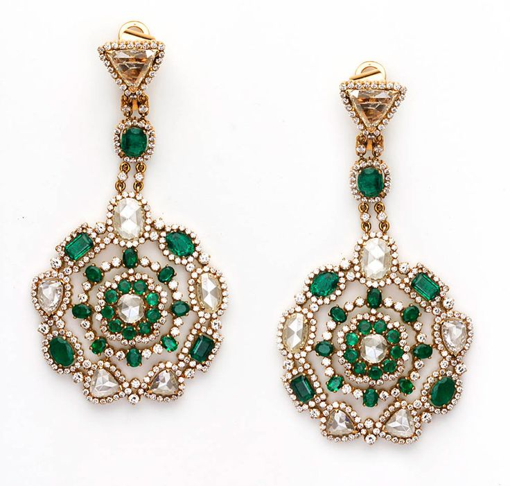 Amrapali white diamond and Zambian emerald drop earrings.