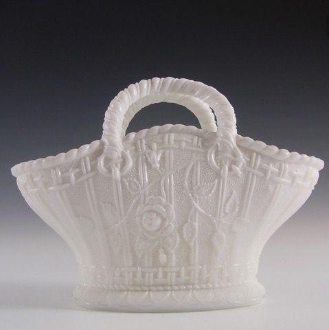 Antique 1890's Victorian White Milk Glass Basket