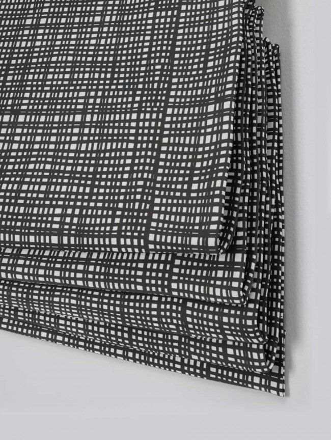 Crosshatch Black Roman Blind - Direct Order Blinds UK
