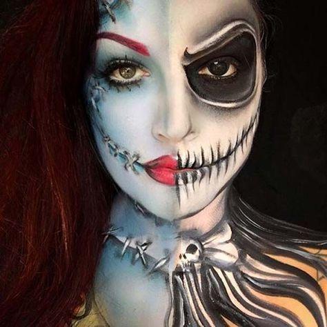 jack and sally creepy halloween makeup idea