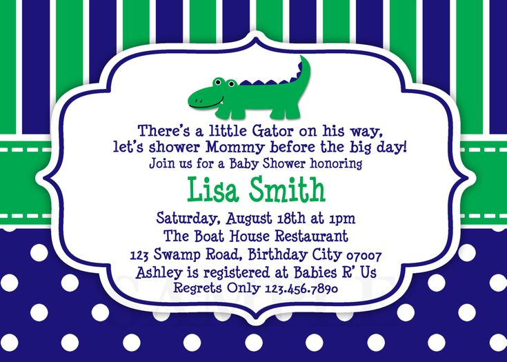Blue and Green Alligator Baby Shower Invitation Preppy Alligator Baby Shower Boy Girls or Twins. $15.00, via Etsy.